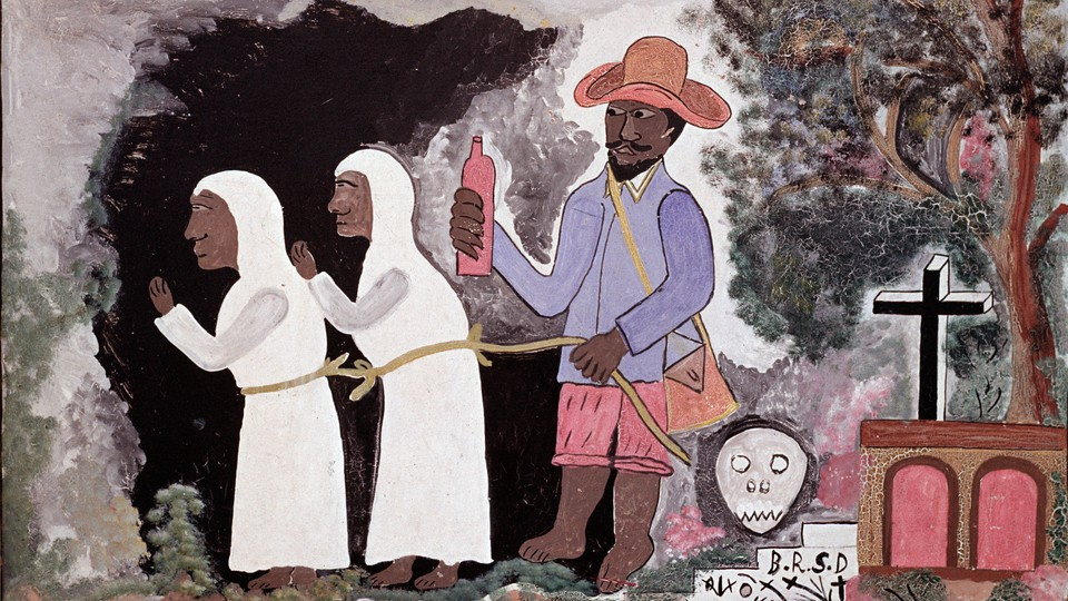 'The Zombies' by Hector Hyppolite, which hangs in the Museum of Haitian Art of St. Peter College in Port-au-Prince