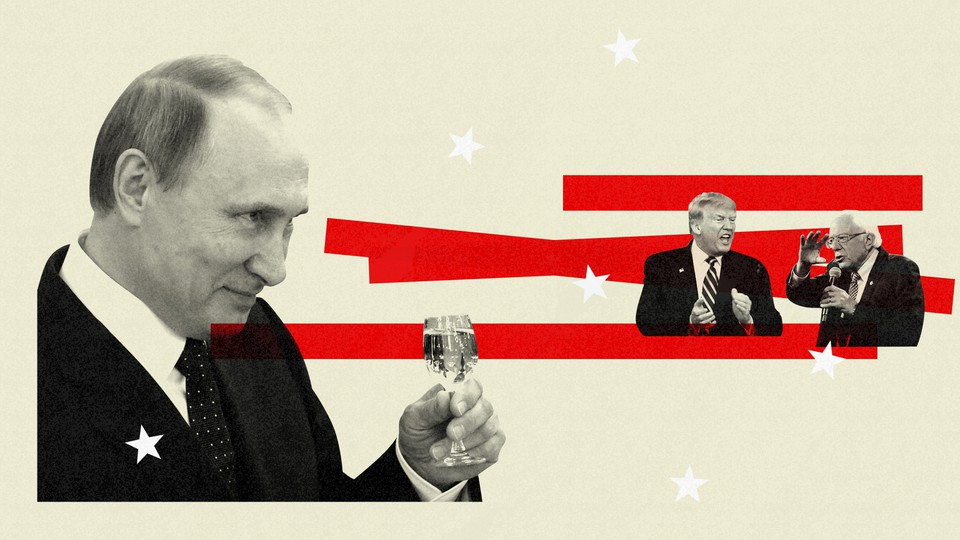 A large image of Putin toasts an arguing Trump and Sanders with a drink.