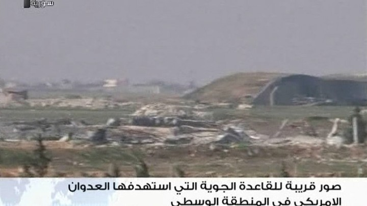 A still image taken from a video broadcast on Syrian state television on April 7, 2017, shows a Syrian army airbase that was hit by a U.S. strike near the city of Homs.
