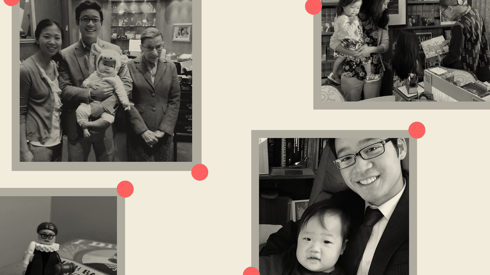 Several family photos show the author, his wife, his daughter, and Ruth Bader Ginsburg
