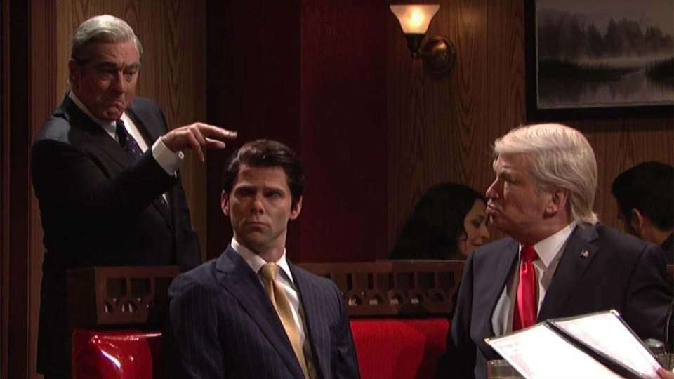 Robert De Niro as Robert Muller, Mikey Day as Donald Trump Jr., and Alec Baldwin as Donald Trump in 'Saturday Night Live'