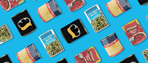 An illustration of a grid of canned food