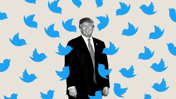 An illustration of Trump surrounded by the Twitter logo