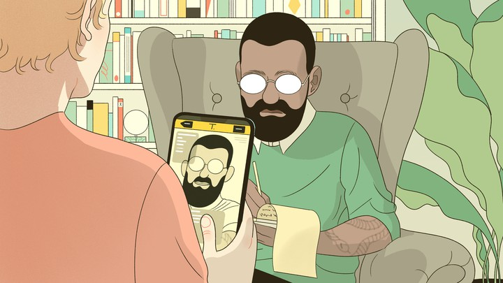 An illustration of a man looking at his therapist, while holding up his therapist's Grindr profile on his phone.