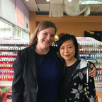 Adelphi University's Meghan McPherson stands with Katrina Zhan at Polish Couture Nail Salon in North Hempstead, NY.