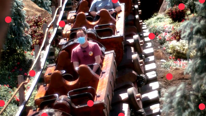 The author, alone, on the Seven Dwarfs Mine Train