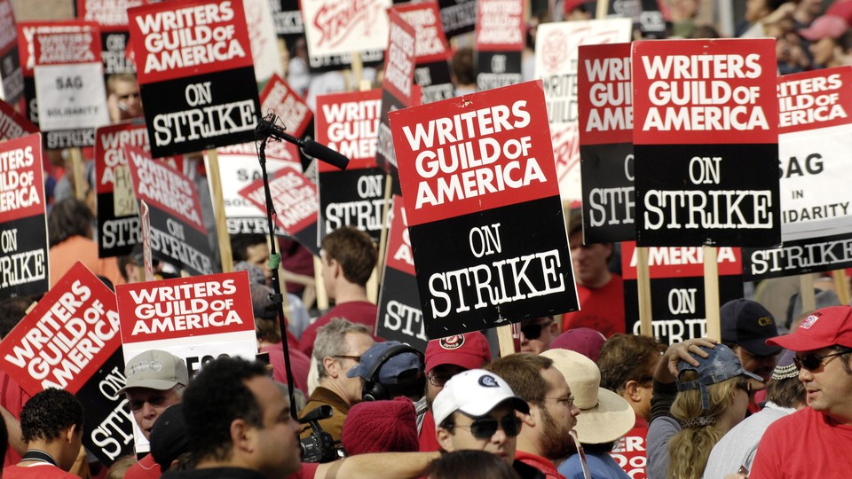 Thousands of WGA members and supporters march during the 2007 strike.