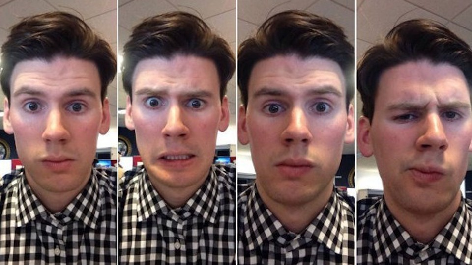 The author's Snapchat selfies on the left, GroupMe selfies on the right.