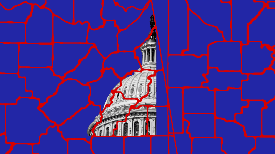 A map of blue-shaded congressional districts divided by red lines, and the U.S. Capitol as a background in the middle of the illustration
