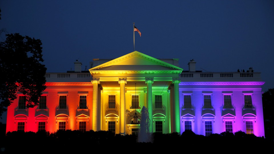 The White House lit up in rainbow colors following the Supreme Court's decision to legalize same-sex marriage in 2015.