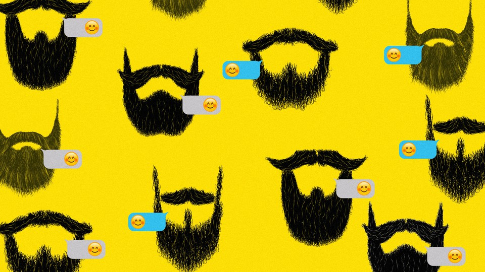 Illustrated beards and smiley-face emoji on a yellow background