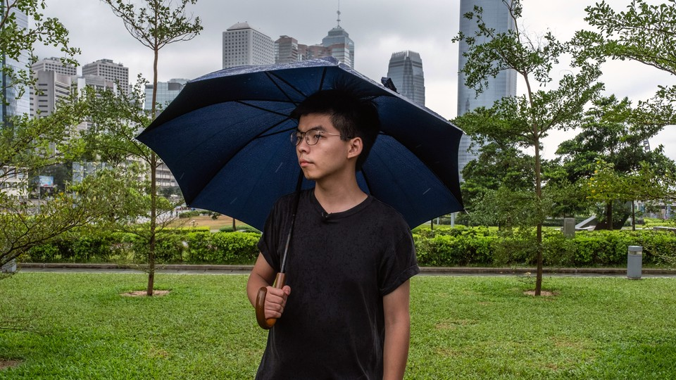 Joshua Wong, a pro-democracy activist, arrives to take part in a strike at Tamar Park after his release from jail in Hong Kong on Monday, June 17, 2019.