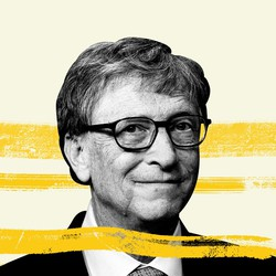 A black-and-white portrait of Bill Gates with yellow streaks behind him