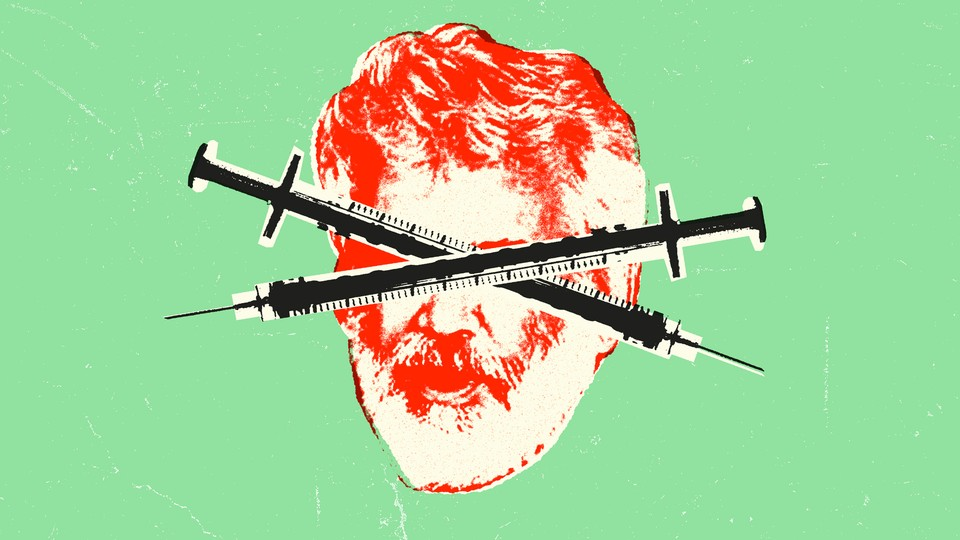 Collage of Robert Malone's face and criss-crossed syringes