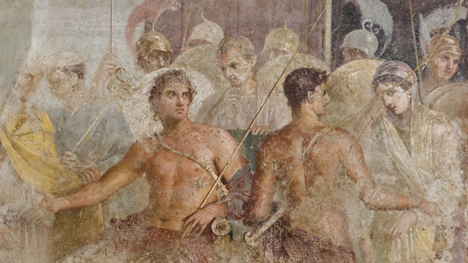 A first-century fresco depicts Briseis (right) being led from the tent of Achilles (left)