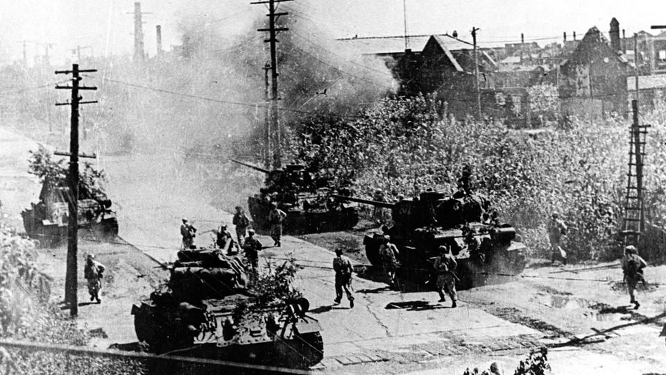 North Korean tanks in Seoul during the Korean War.