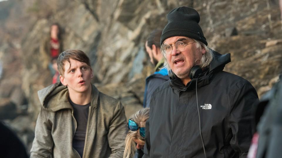 Paul Greengrass (right) and Jonas Strand Gravli (left) on set for '22 July'