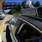 An Uber self-driving vehicle undergoing testing in Pittsburgh.