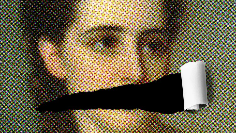 A portrait of a woman with her mouth missing.