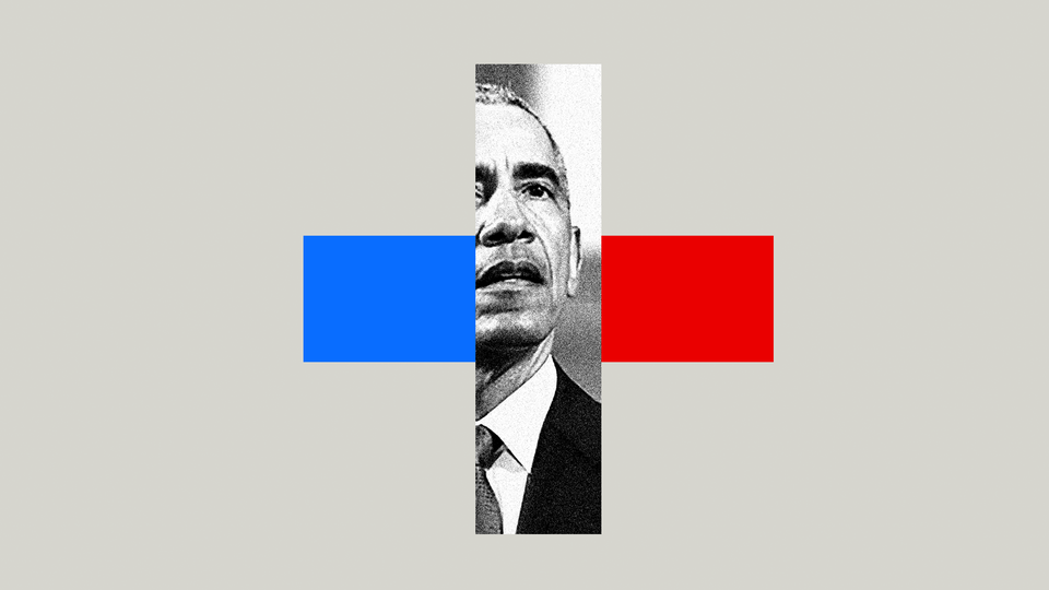 President Barack Obama's face is shown on a medical cross