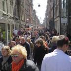 A crowded street outside in Boston