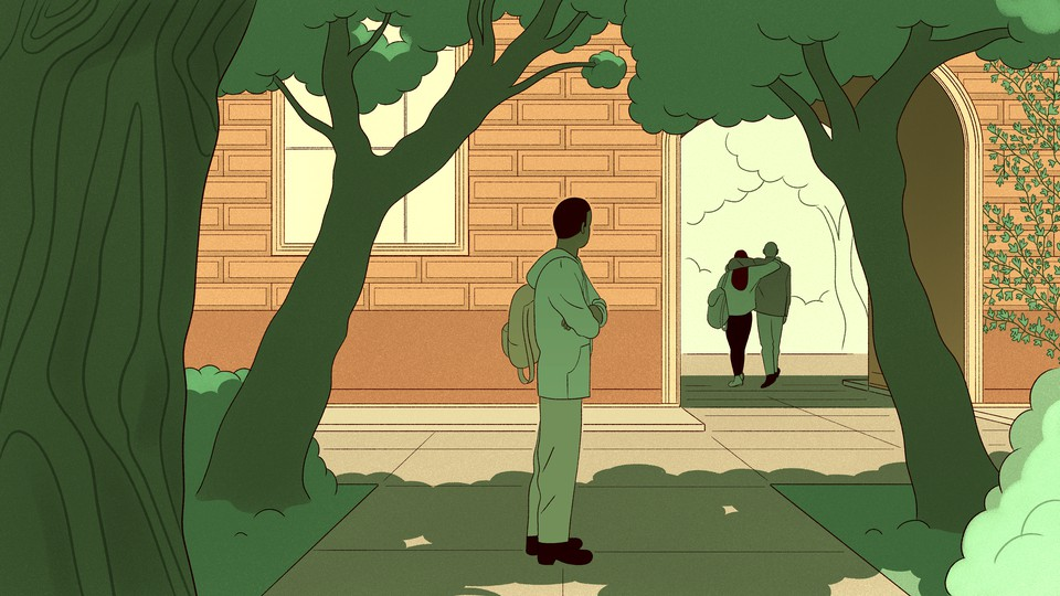 An illustration of a boy watching a couple from the distance.