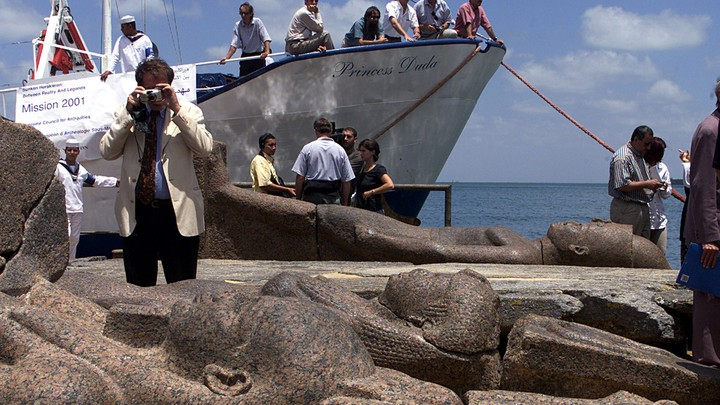 Statues recovered in Aboukir Bay on Egypt's northern coast