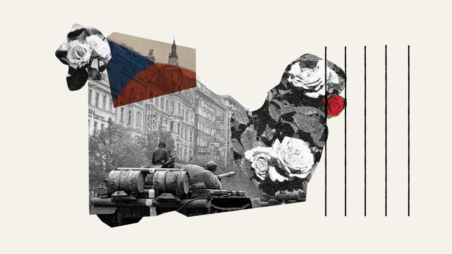 A collage with images of roses and a black and white photograph from the Soviet invasion, showing a tank going down a street