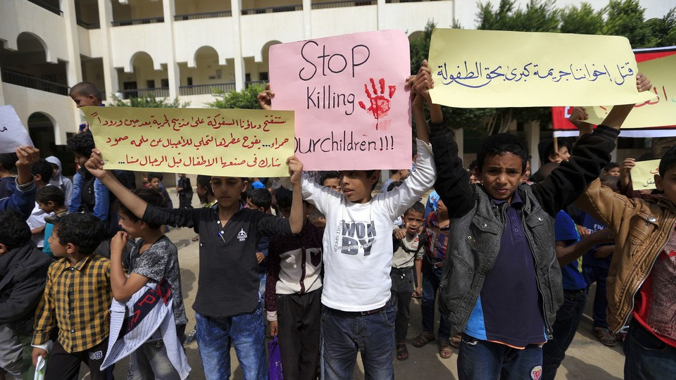 Yemeni children at an August protest in Sanaa, Yemen, against the Saudi-led coalition that has been accused of targeting civilians.