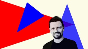 Kyle Mann on a background of red and blue triangles