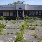 An abandoned car dealership in Queens, New York