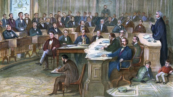 Engraving depicting a courtroom scene during the 1868 impeachment of Andrew Johnson.