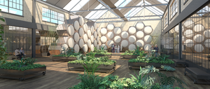 "An artist's rendering of a proposed ""human composting"" facility, with skylights, plants, and benches."