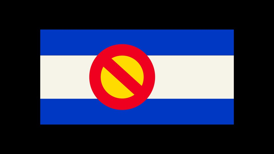 """An image of Colorado's flag with a """"cross out"""" symbol at its center"""