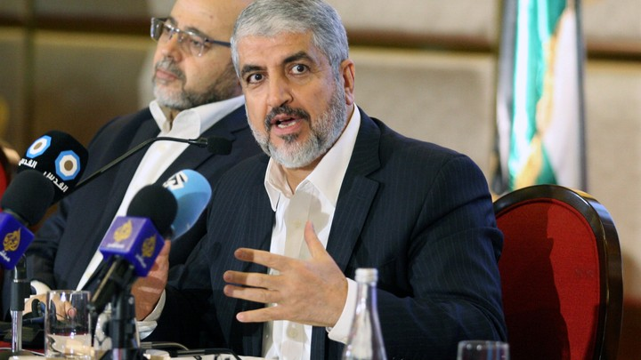Hamas leader Khaled Meshaal announces a new policy document in Doha, Qatar on May 1, 2017.