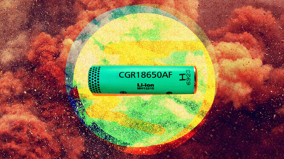 A lithium-ion battery on a kaleidoscope background