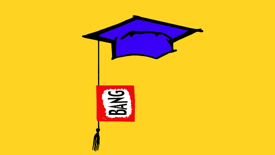 """Illustration of a graduation cap with a """"bang"""" sign attached to the tassel"""
