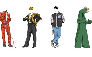 illustration of classic Eddie Murphy costumes