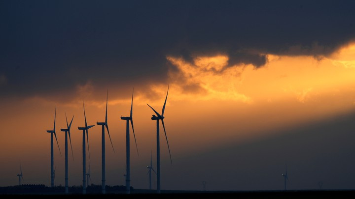 Wind turbines in a wind park