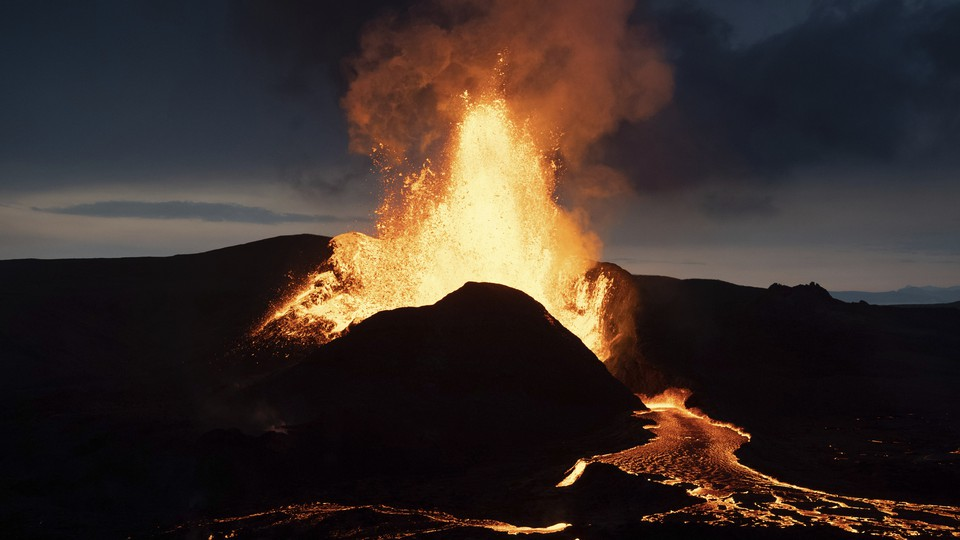 The Fagradalsfjall volcano erupting in Iceland on May 18, 2021