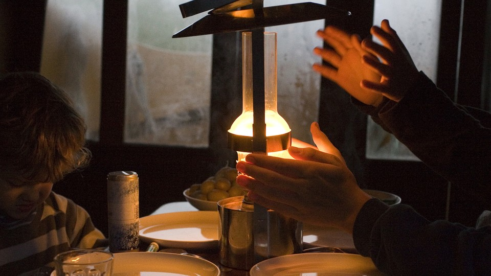 A candlelit dinner table