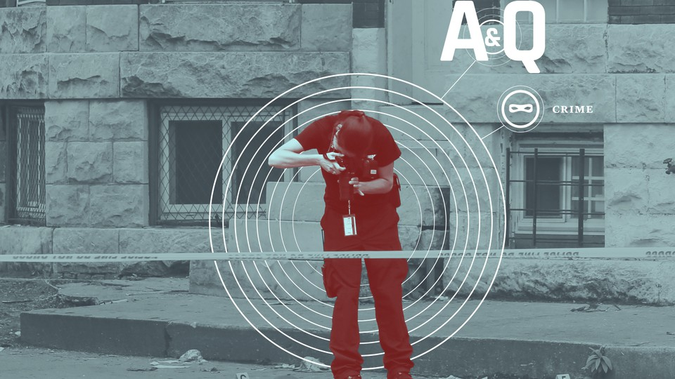 """An illustration showing a female police officer taking a photo of numbered evidence on the ground of a roped-off crime scene; she's surrounded by coccentric circles, which branch off into the words """"A&Q"""" and """"Crime."""""""