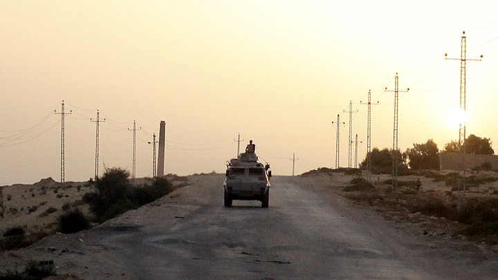 An Egyptian military vehicle on a highway in Northern Sinai