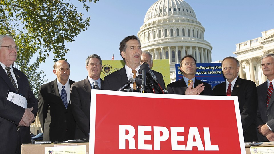 Republican Senator Jim DeMint delivers remarks opposing Obamacare at a news conference in 2011.