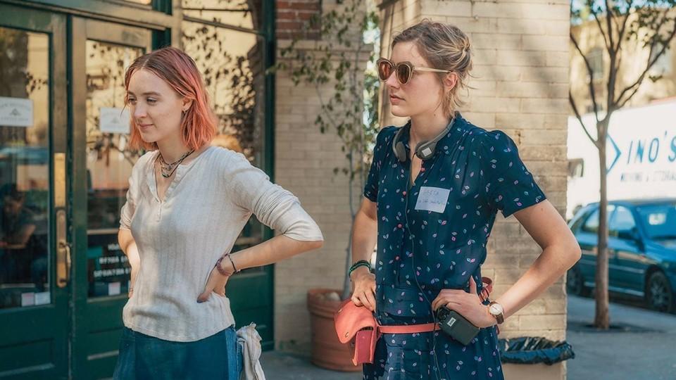 Saoirse Ronan and the director Greta Gerwig on the set of Lady Bird