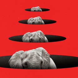 An illustration of elephants in holes