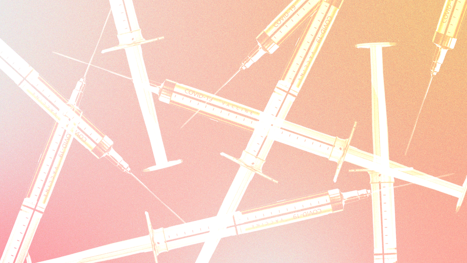 Syringes on a pink and orange gradient background