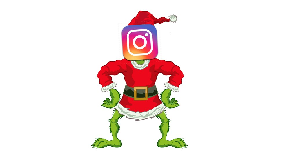The Grinch with the Instagram logo superimposed over his face.