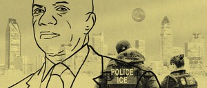 An illustration of Mecklenburg County Sheriff Garry McFadden and ICE agents