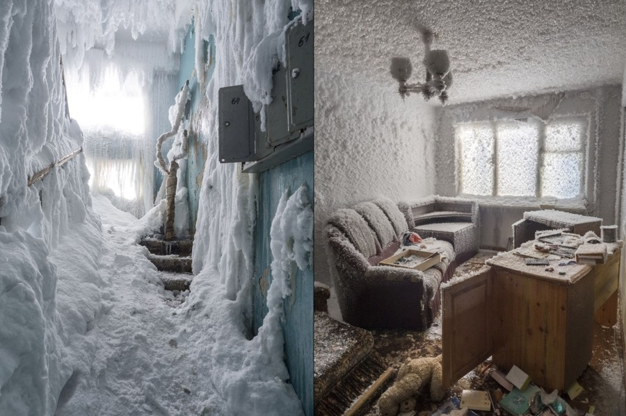 Two images. At left, ice and snow fill a stairwell, at right, ice crystals encrust everything a former home office.